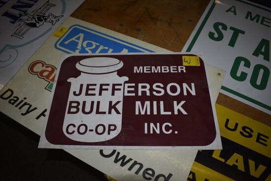 Jefferson Bulk Milk Co-Op Plastic Sign, 18'' x 12''