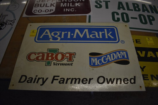 Agri-Mark Dairy Farmer Owned Plastic Sign, 24'' x 16''