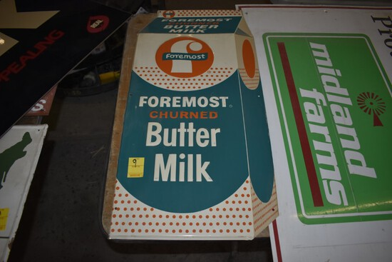 Foremost Churned Buttermilk Stamped Metal Sign, 30'' x 15''