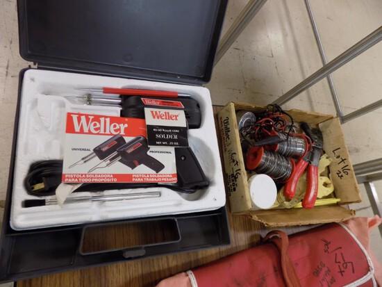 Weller Solder Gun in Case With Box of Solder & Wire Strippers