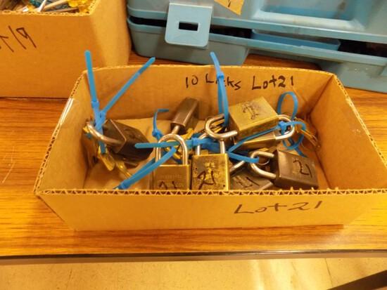 Box of (10) Padlocks, All Keyed Alike