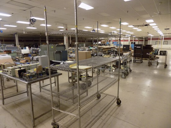 24''x60''x80'' Tall 4-Tier Rolling Wire Rack Shelves