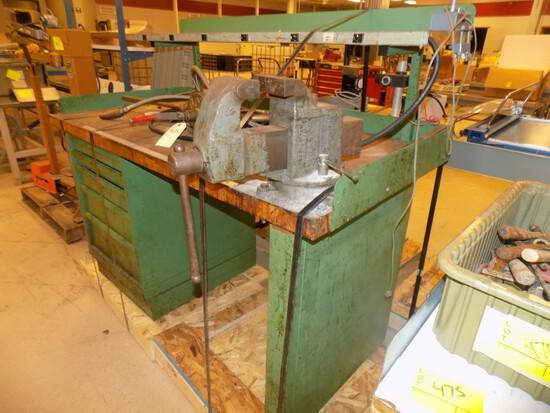 5' Green Work Bench w/ Columbian Vise, Butcher Block Top & Overhead Shelf
