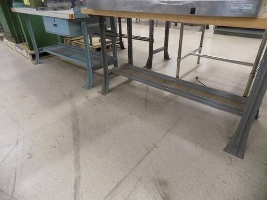 (2) 5' x 30'' Work Tables - (1) w/ Drawer & (1) w/ Butcher Block Top