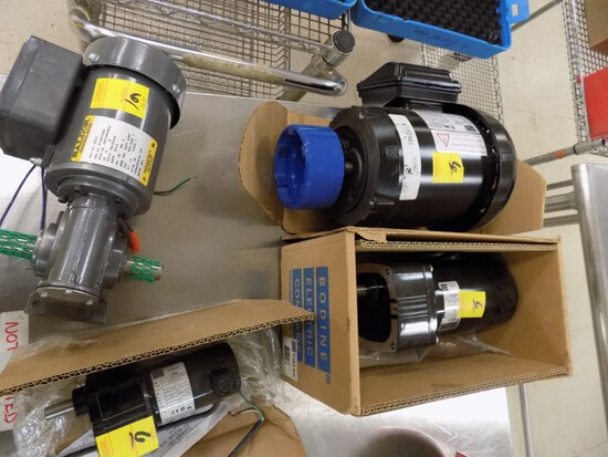 (4) New Electric Motors, (2) 3-Phase, (2) DC Gear Motors