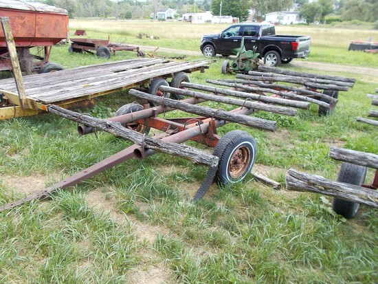 Round Bale Wagon, 20' Long, Steel Frame w/ Wood Cross Pieces On Orange Gear