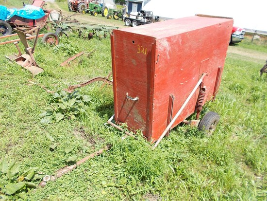Red Tow-Behind Hog / Calf Trailer, Drops Down, Neat, NO TITLE / BOS ONLY