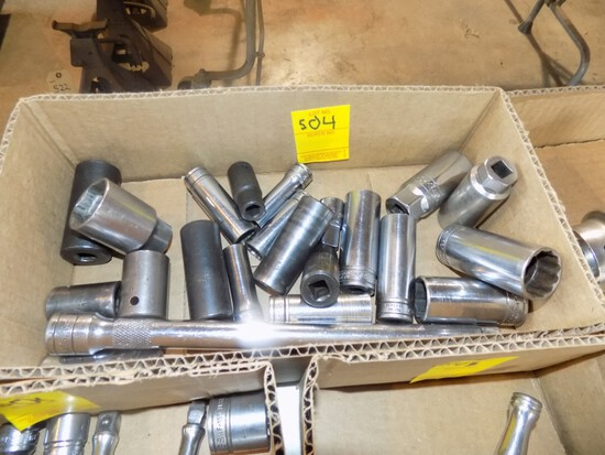 Box of 1/2'' and 3/4'' Sockets, A Coupe of Them Are Snap On