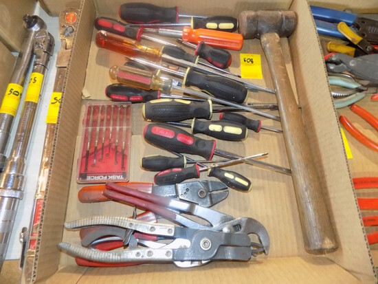 Box w/Large Qty of Screwdrivers, Hammer & Various Pliers