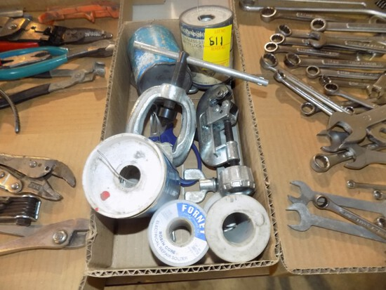 Box of Soldering Wire, Puller, Little Pipe Cutter, Etc