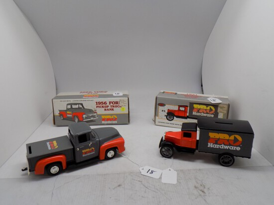 (2) Pro Hardware Diecast Banks, 1:34 Scale, (1) 1931 Hawkeye Truck and (1)