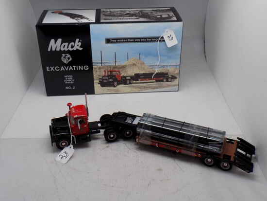 1st Gear Mack Excavating Model R-600 with Lowboy Trailer No. 2, 1:34 Scale,