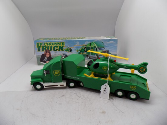 BP Chopper Truck Plastic Toy Tractor Trailer w/ Helicopter, 2nd in a Series