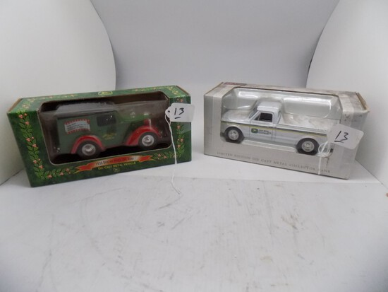 (2) 1/24 Scale Diecast Banks - (1) 1967 Chevrolet JD Quality Farm Equipment