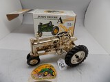 John Deere Model ''A'' Tractor, Gold Plated in 1/16 Scale by Ertl, Kansas C