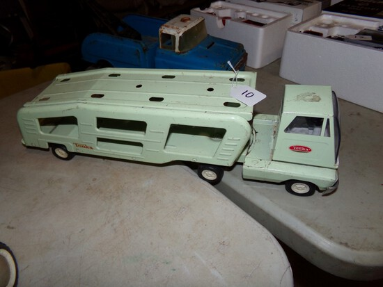 Tonka Sea Green Cab Over Car Hauler, Nice Old Tin Toy,  18 1/4'' Long