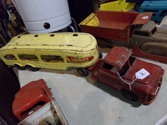 Lumar Auto Transport Car Hauler, 32 1/4'' Long, Rare Tin Toy