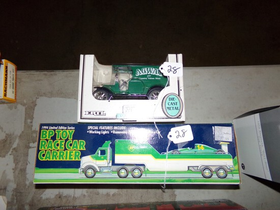 BP Toy Race Car Carrier With F1 Car, And A  1:25 Scale 1912 Open Cab Bank '