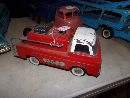 Nylint Ford Firetruck, 12'' Long. Windshield Damaged, Missing A Piece Off T