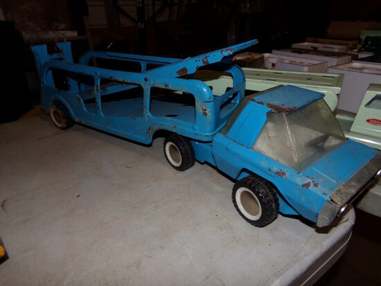 Buddy L Tin Car Hauler With Drop Down Upper Deck, 27 1/2'' Long