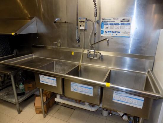 SS 3-Bay Sink w/ Left Side Drain Board, 90'' Wide Overall, 30'' Deep w/ Top