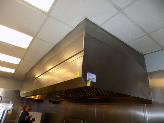 SS Exhaust Hood System w/ Makeup Aire, 12' Wide, 33'' SS Tall, 57'' Deep w/