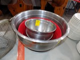 (3) Stainless Prep Bowls - (1) Red & (1) Plastic