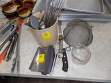 Group of Misc. Kitchen Items - Measuring Cup, Choppers, Cake Knife, Straine