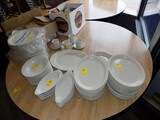 Large Lot of White Ceramic Dining Dishes, Platters, Cups, Saucers, Appetize