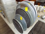 Wire Rack w/ Asst. Round Piza Pans & Couple Service Trays