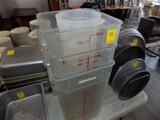 (5) Plastic Measuring Containers - (1) Round 4 Qt., (2) Square 12 Qts, (1)