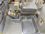 Asst. Stainless Prep Pans - (12) Large Pans & (5) Smaller Pans & (2) Strain