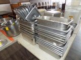 (18) 12'' x 6'' Stainless Prep Dishes w/ (9) Lids