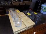 16'' Flight Glasses & (8) Wooden 4-Spot Serving Trays