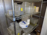 All Plastic Prep Dishes On Wire Shelf (Lot #152) - Contents Only