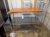 4'x2'x66'' Tall 3-Tier Wire Shelf w/ An Old Dining Table Top & Extra Shelf