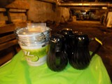 (3) Black Pitchers & Stack of Bud Light Buckets and Menu Holders