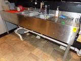 3-Bay SS Under Bar Sink, 2' Side Drain Boards & Glass Washer, 72'' Wide x 1