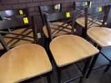 (2) Copper/Brown Steel w/ Wooden Seat Bar Stools (2x Bid Price)