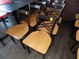 (8) Fancy Cooper/Brown Steel Frame/Maple Wooden Seat Dining Chairs (8x Bid