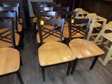 (10) Fancy Cooper/Brown Steel Frame/Maple Wooden Seat Dining Chairs (8x Bid