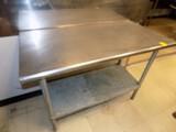 SS Work Table w/ Bottom Shelf, 48'' Wide x 24'' Deep, Bull Nosed