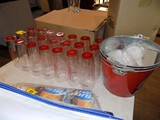 (22) Red Bottom 7'' Budweiser Glasses, (3) Budweiser Tin Buckets - For All