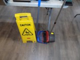 Slippery Floor Standing Signal & (2) Long Handled Dust Pans