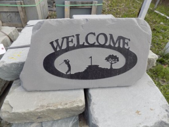 Golf Scene, ''Welcome'' Stone Sign, Approx. 16'' x 24'' , Real Nice