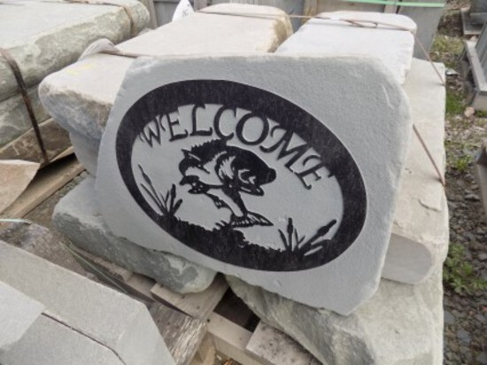 Fish Scene, ''Welcome'' Stone Sign, Approx. 17'' x 24'', Real Nice