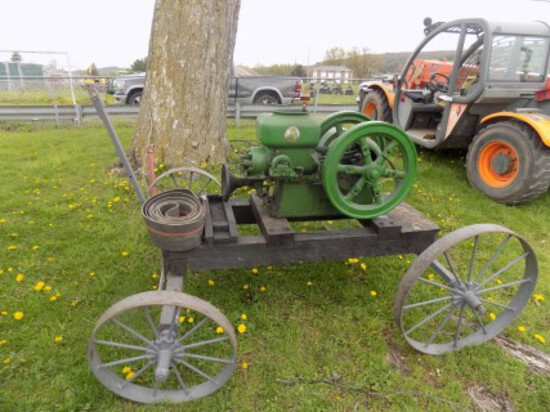 Hercules 3 hp Hit & Miss Engine on Cart w/ Pulley, 475 RPM S/N 272635,  Gre