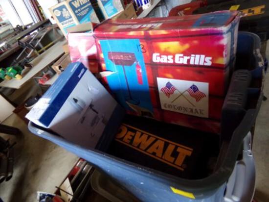 Blue Tote w/Bit Sets, Corner Caddy Shower Shelf & New Portable Gas Grill