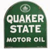 VINTAGE QUAKER STATE MOTOR OIL DOUBLE-SIDED DIE-CUT TIN AUTOMOTIVE GARAGE SIGN.