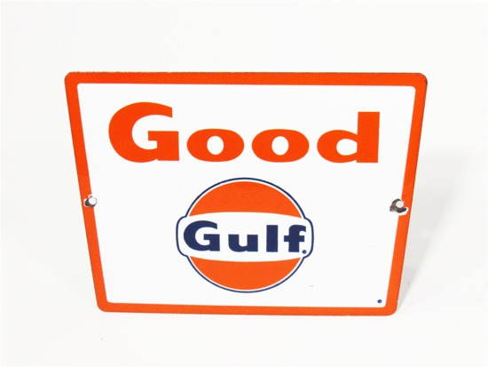 LATE 1950S-EARLY 60S GOOD GULF GASOLINE PORCELAIN PUMP PLATE SIGN